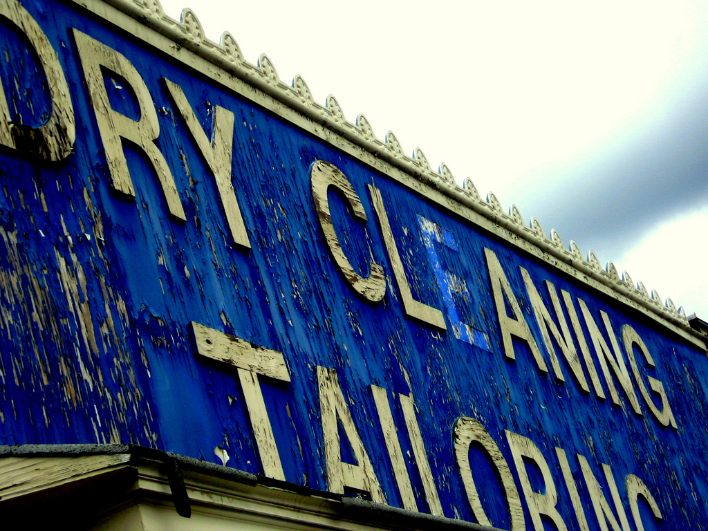 Old dry cleaning sign