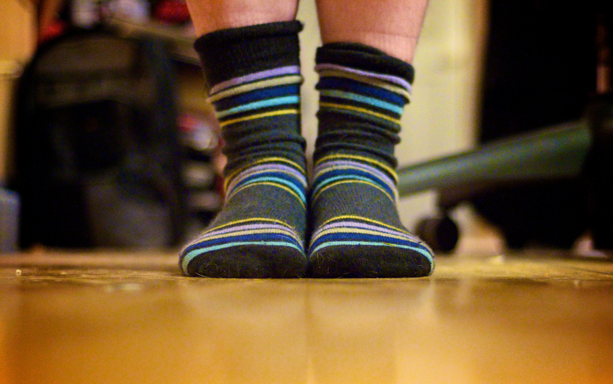 Standing in socks